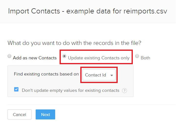 Existing Data Import Step 3 - Update Existing with Contact ID