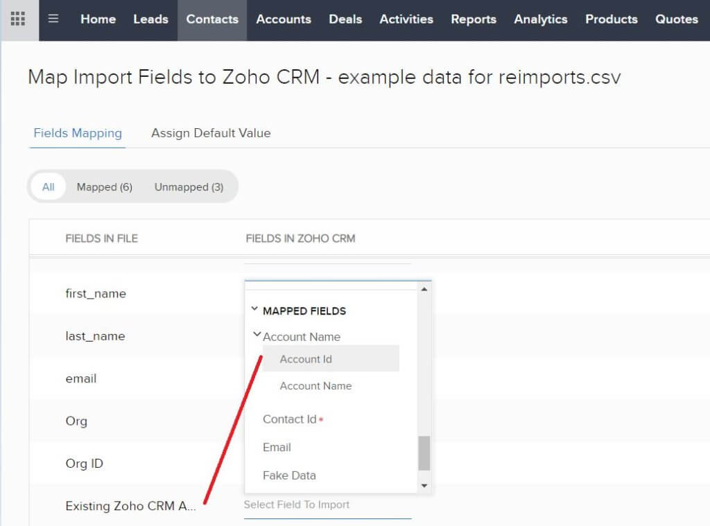 Zoho CRM data import Step 4 - Map Existing Account ID