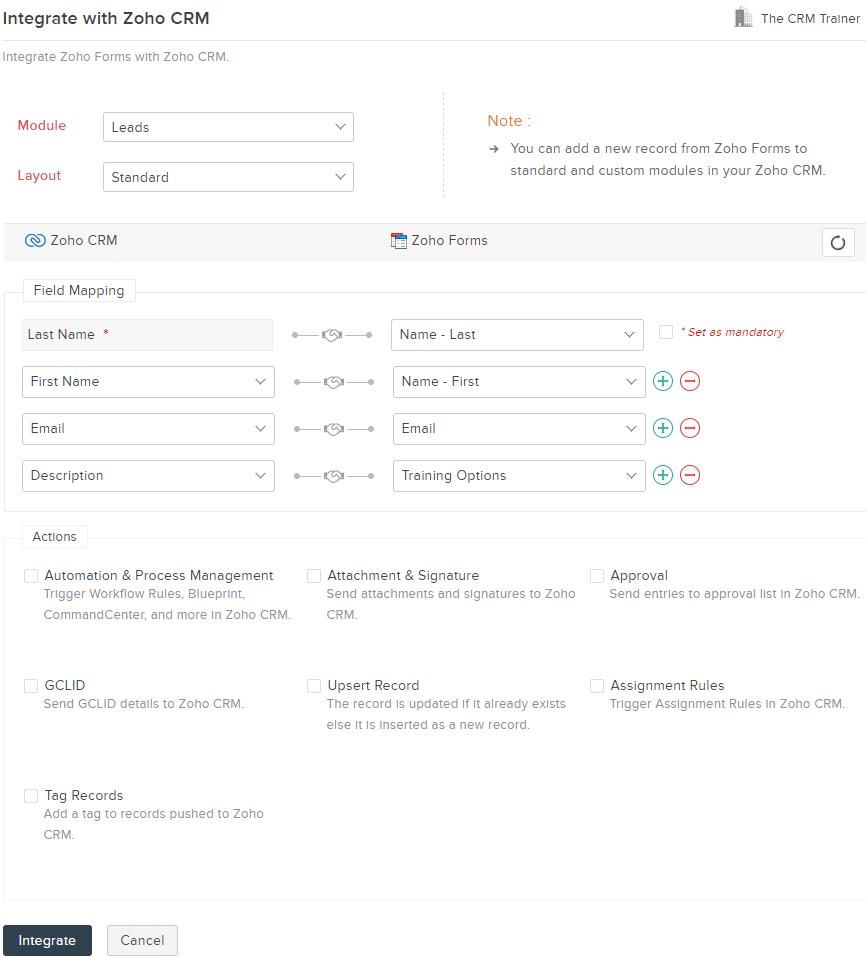 Zoho Forms to Zoho CRM Integration