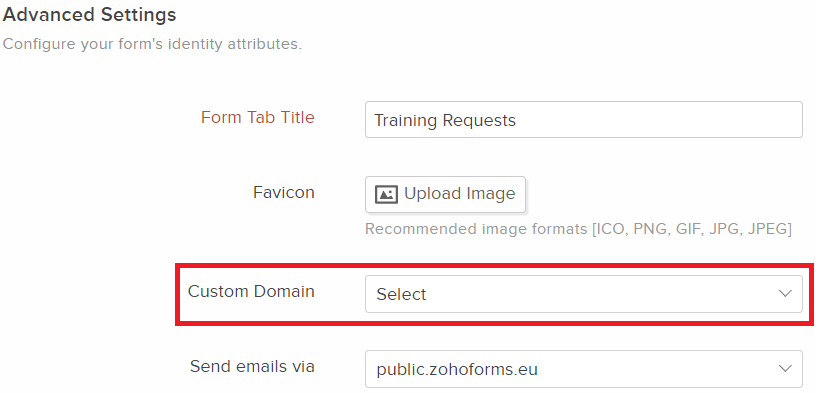 Changing the Domain for form URL