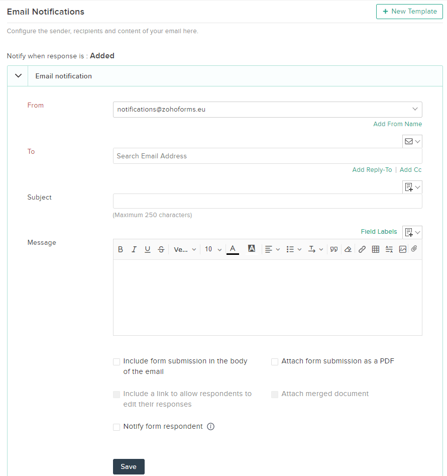 Email Notification Settings for Zoho Forms